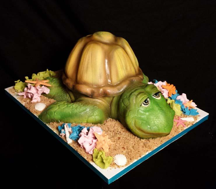 Airbrushed fondant turtle cake