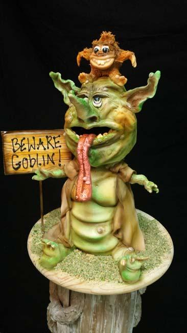 Sculpted and airbrushed fondant goblins