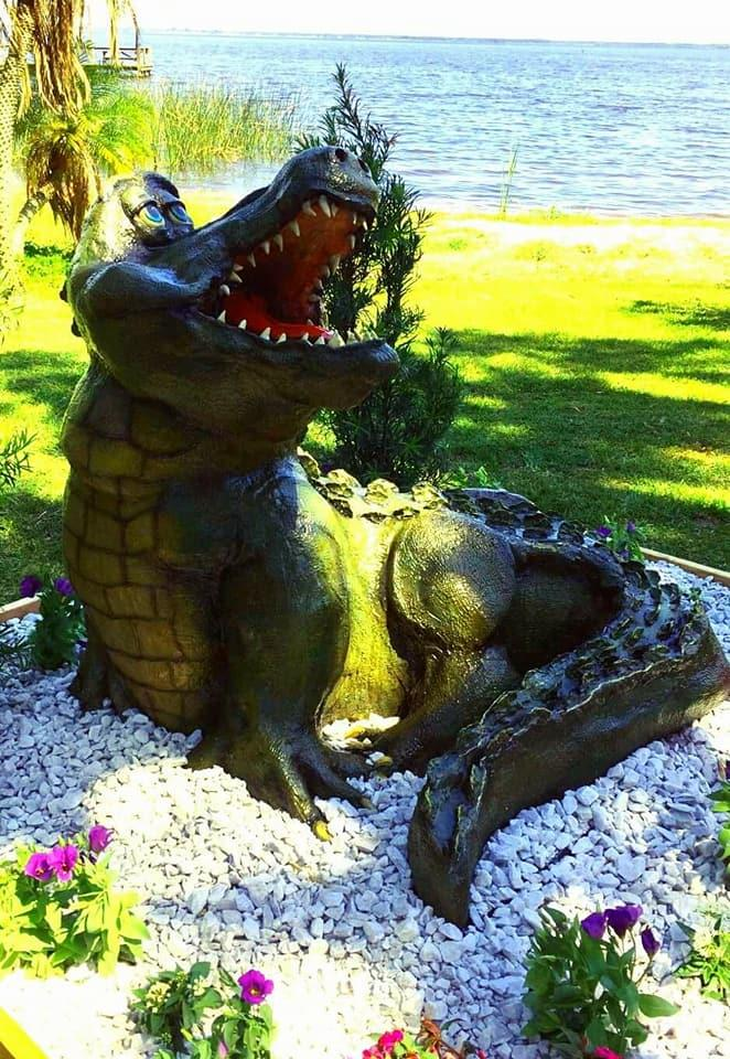 Sculpted larger than life crocodile