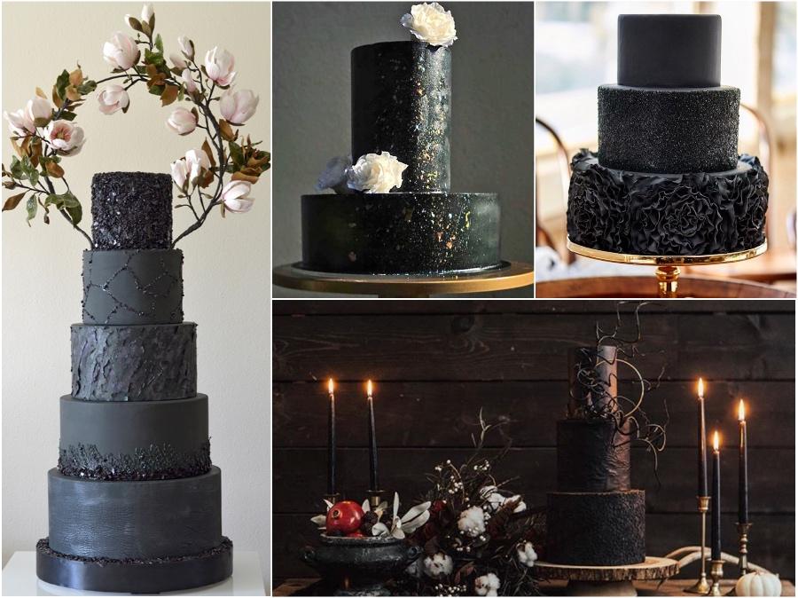 Black Wedding Cakes Satin Ice