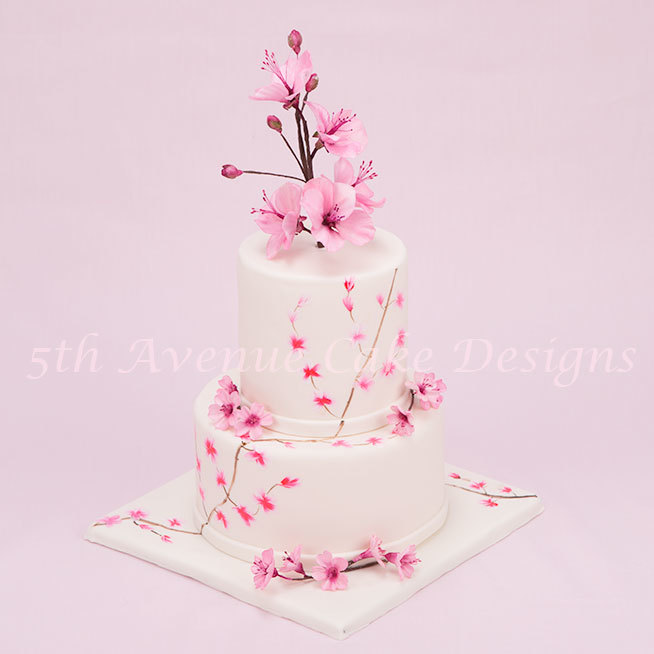 Baby pink Cherry Blossom Wedding cake