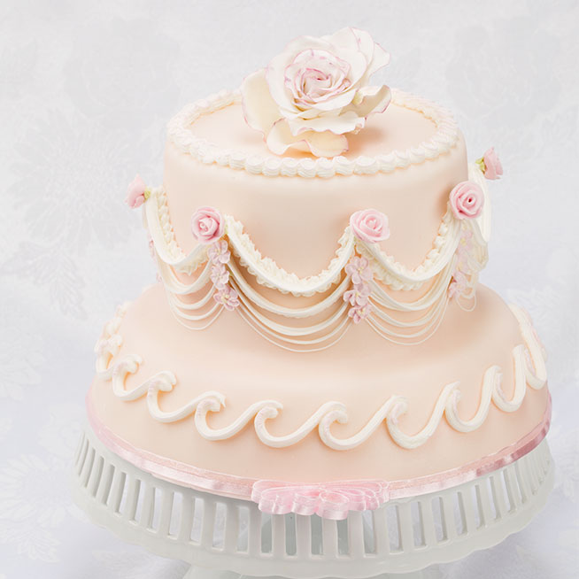 All baby Pink victorian styled Wedding cake