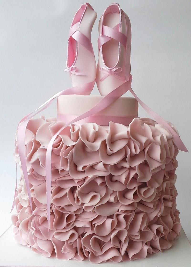 Pink ballet birthday cake with ruffles