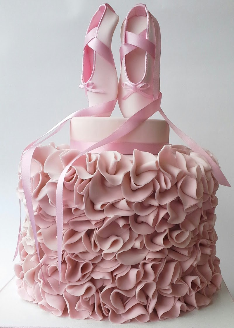 Pink ballet birthday cake with ruffles