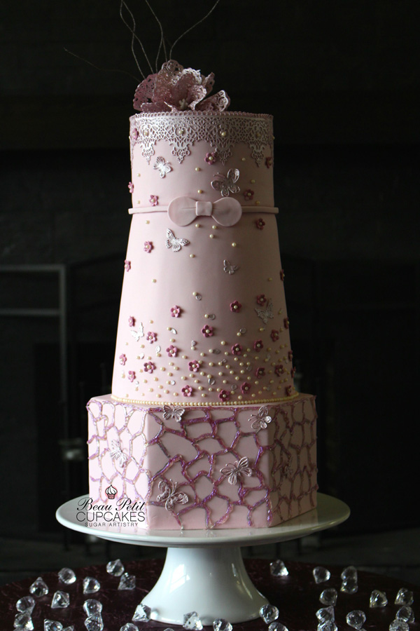 All baby Pink Wedding cake