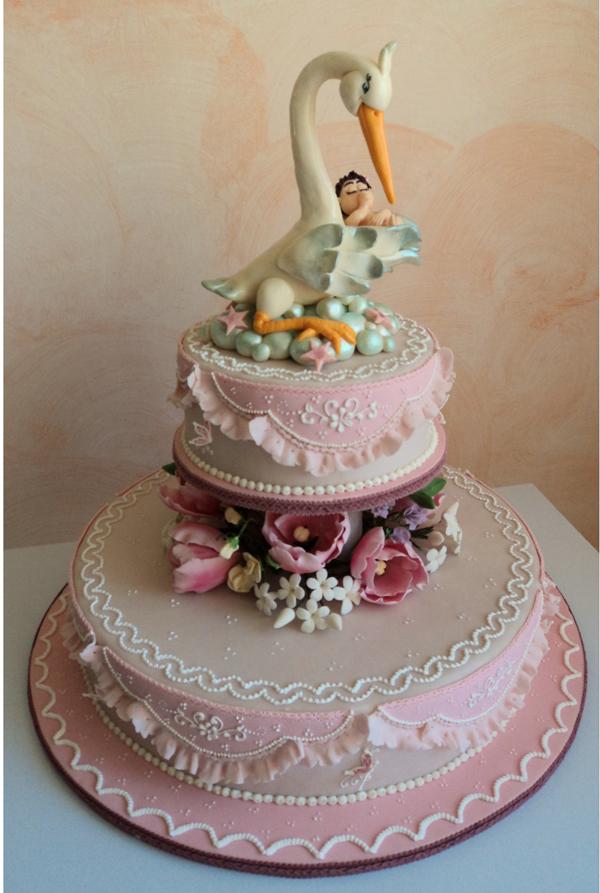 Stork Baby Cake