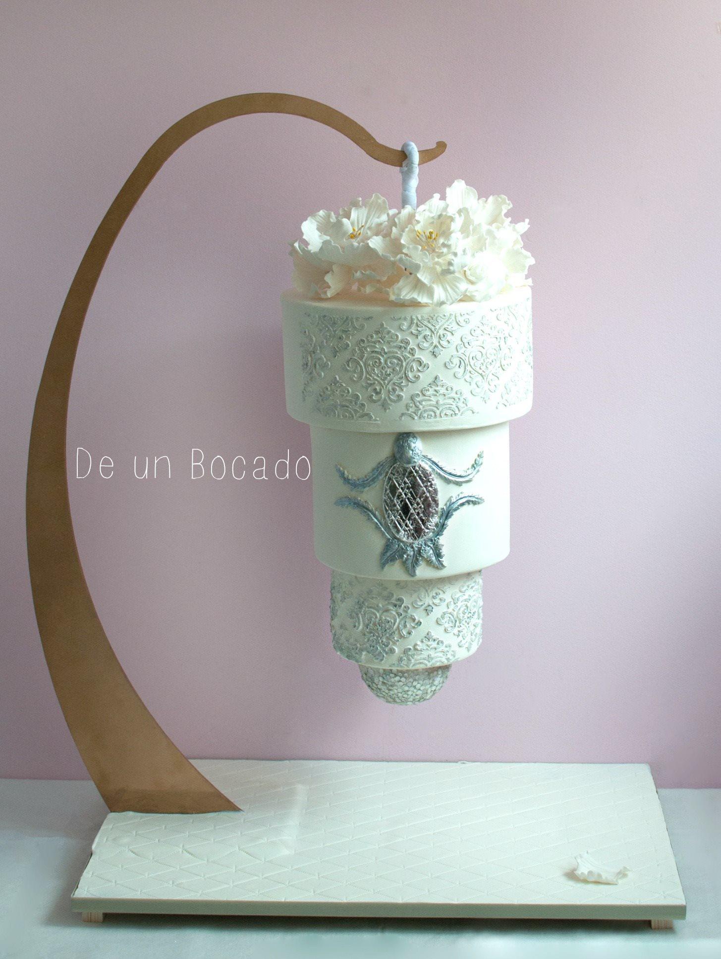 Upside down hanging wedding cake