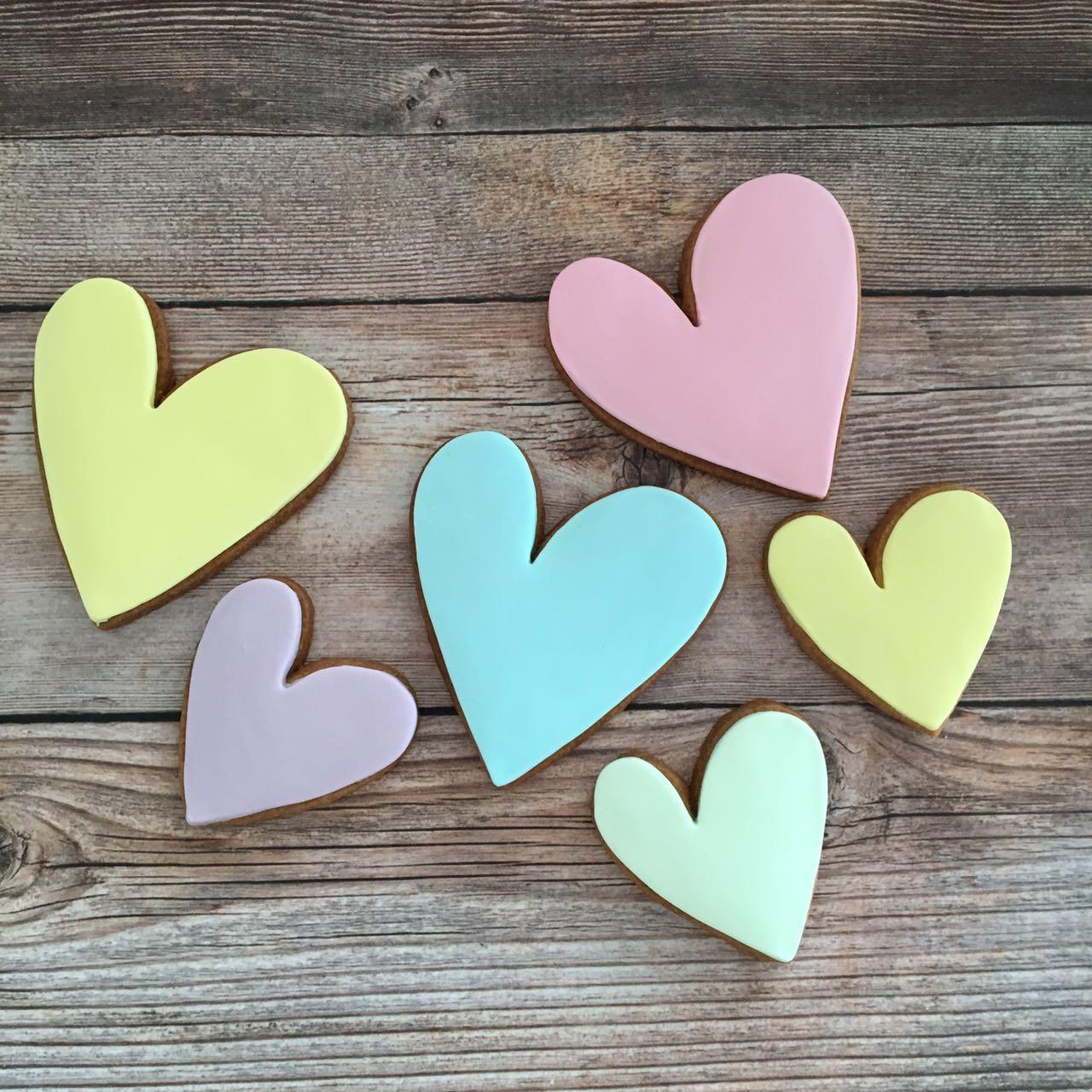 Pastel colored fondant heart cookies