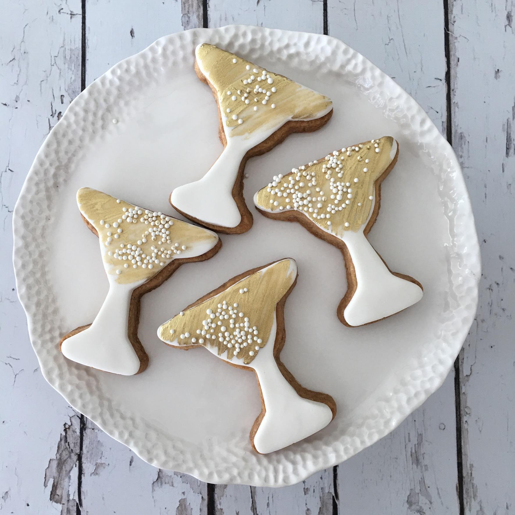 Gold champagne glass fondant cookies
