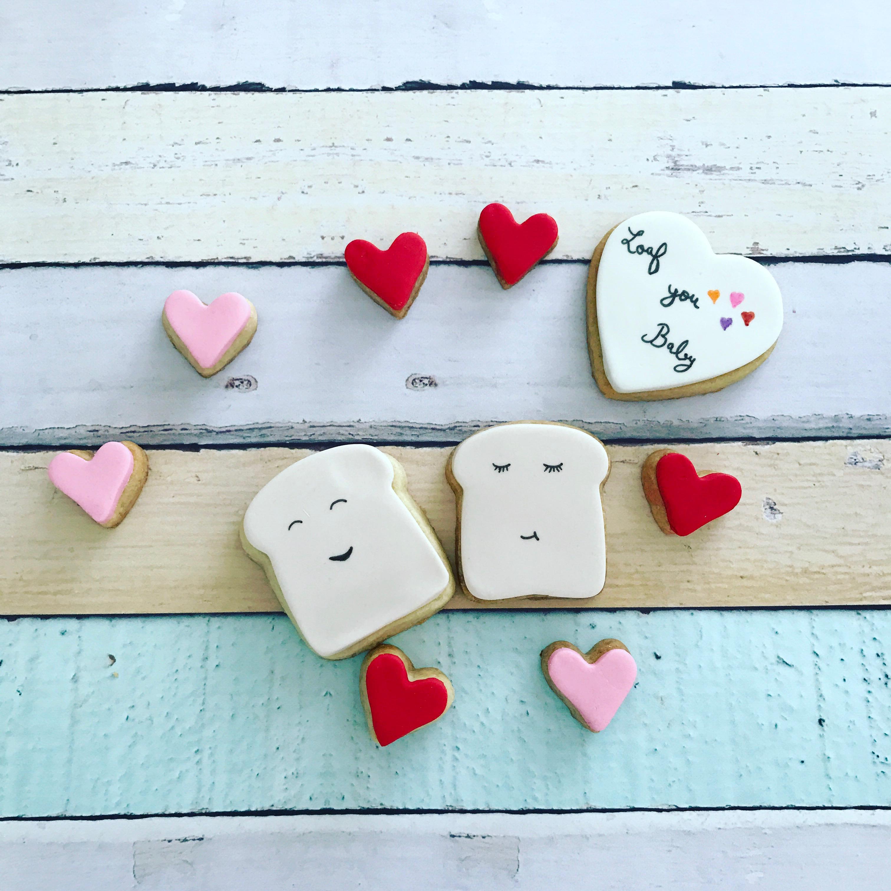 Breakfast toast and heart cookies