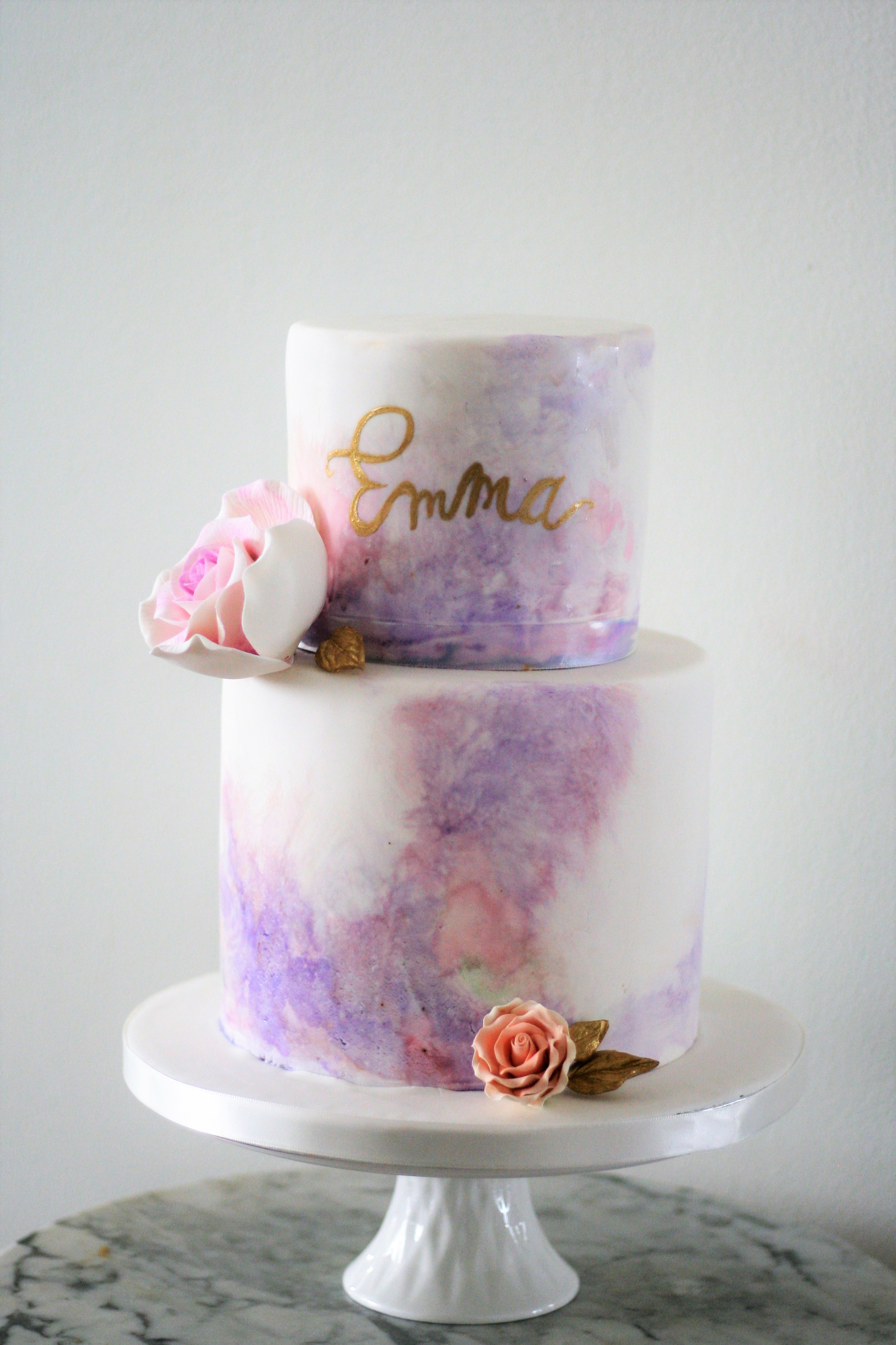 Purple watercolor birthday and baby cake