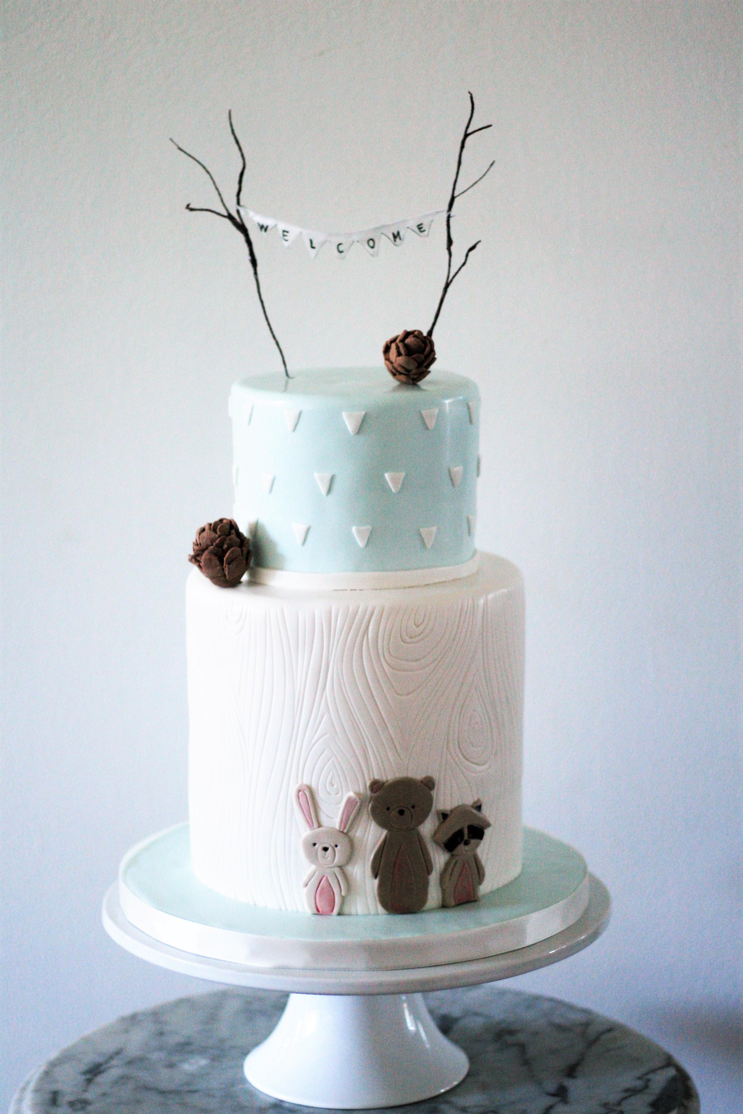 Light blue and pink animal theme baby cake