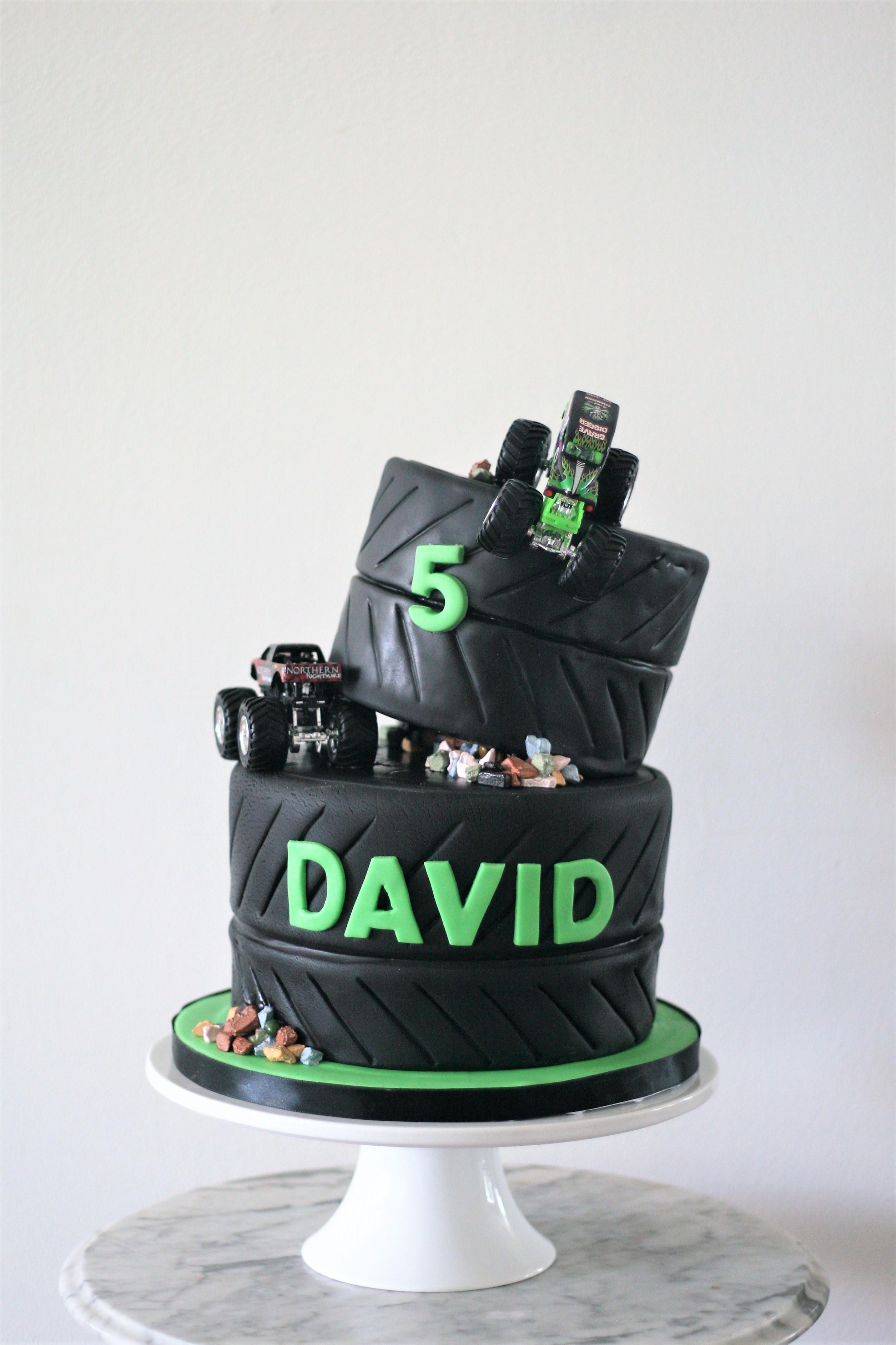 Monster truck boys birthday cake