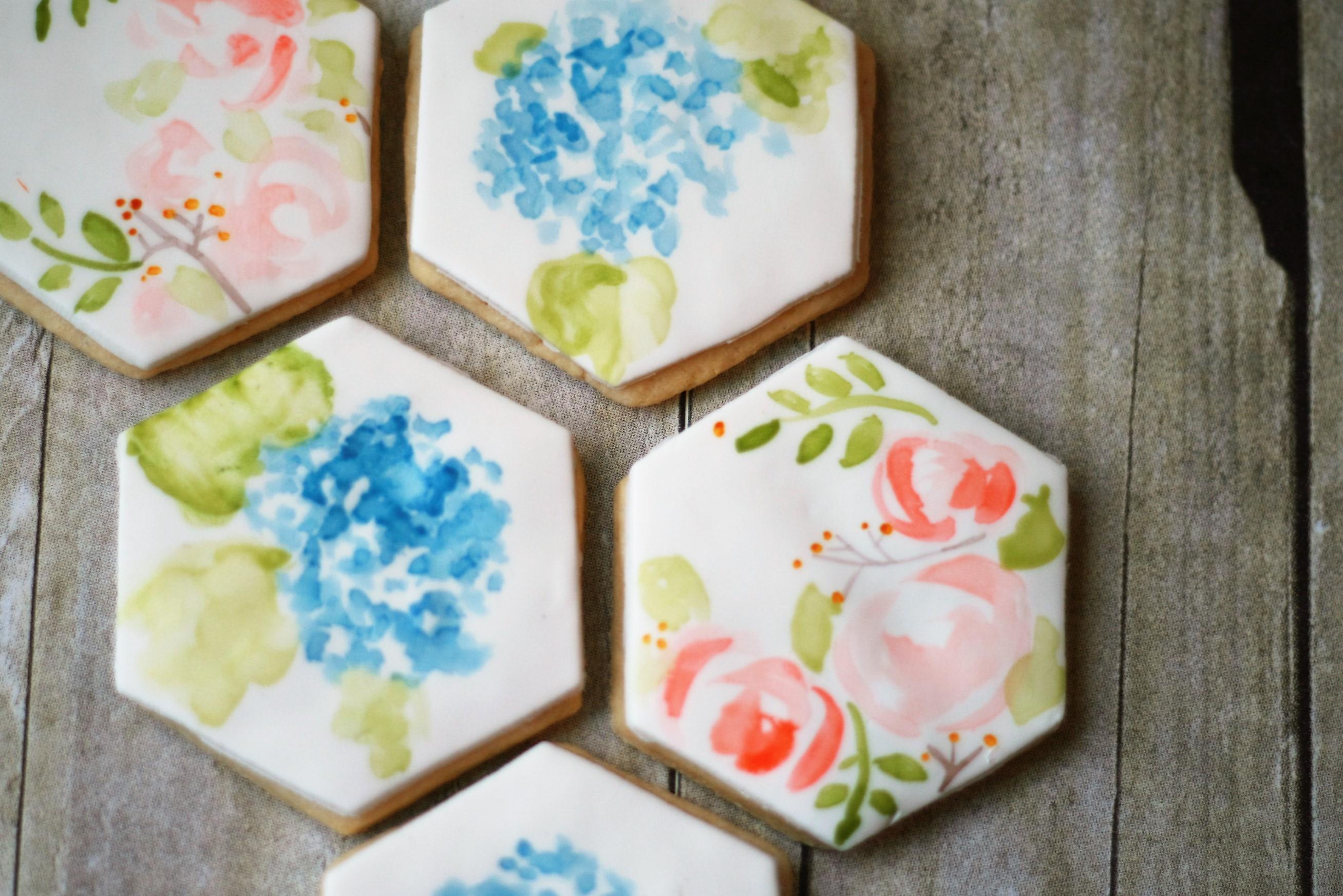 Hand painted flower fondant cookies