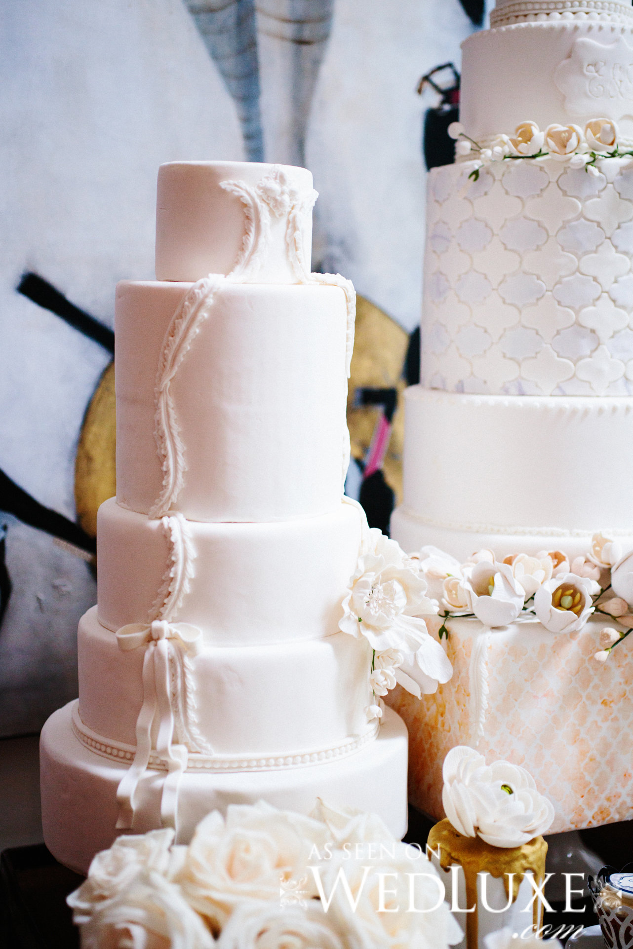 White wedding cake with sugar pearls