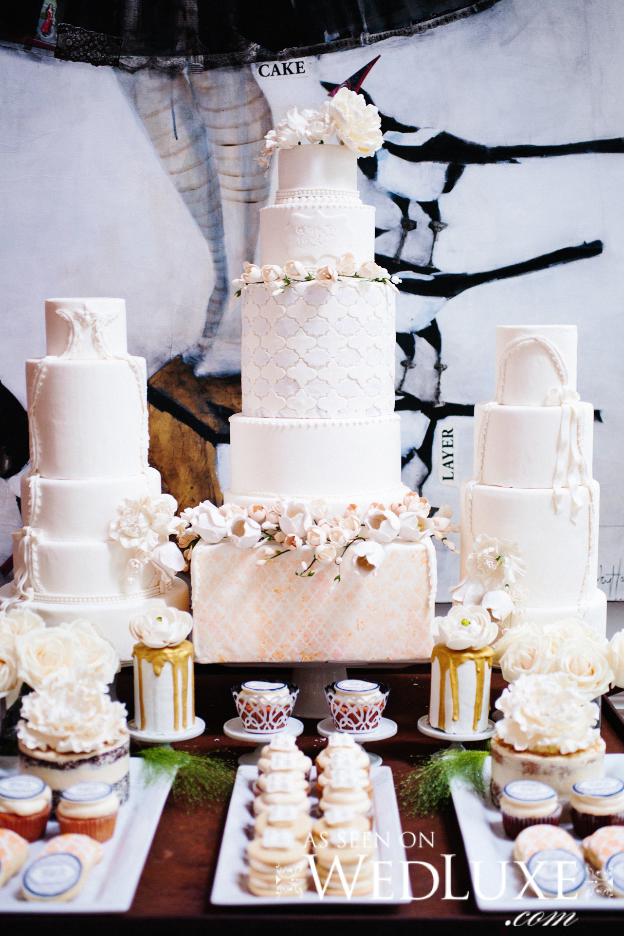 White Wedding cake Dessert table