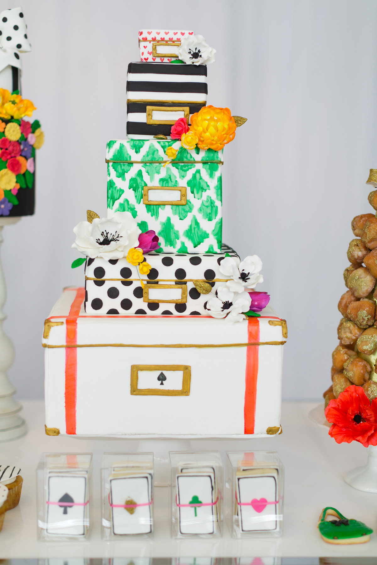 Black and white polka dot and striped Kate Spade themed luggage traveling cake