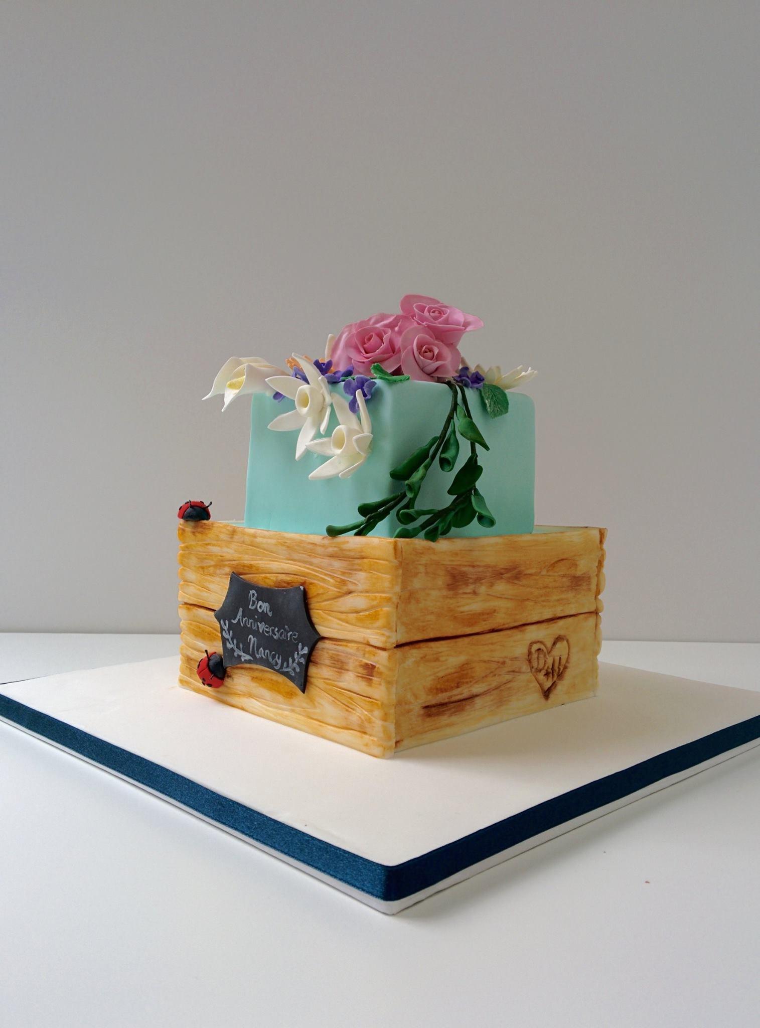 crate of sugar flower cake