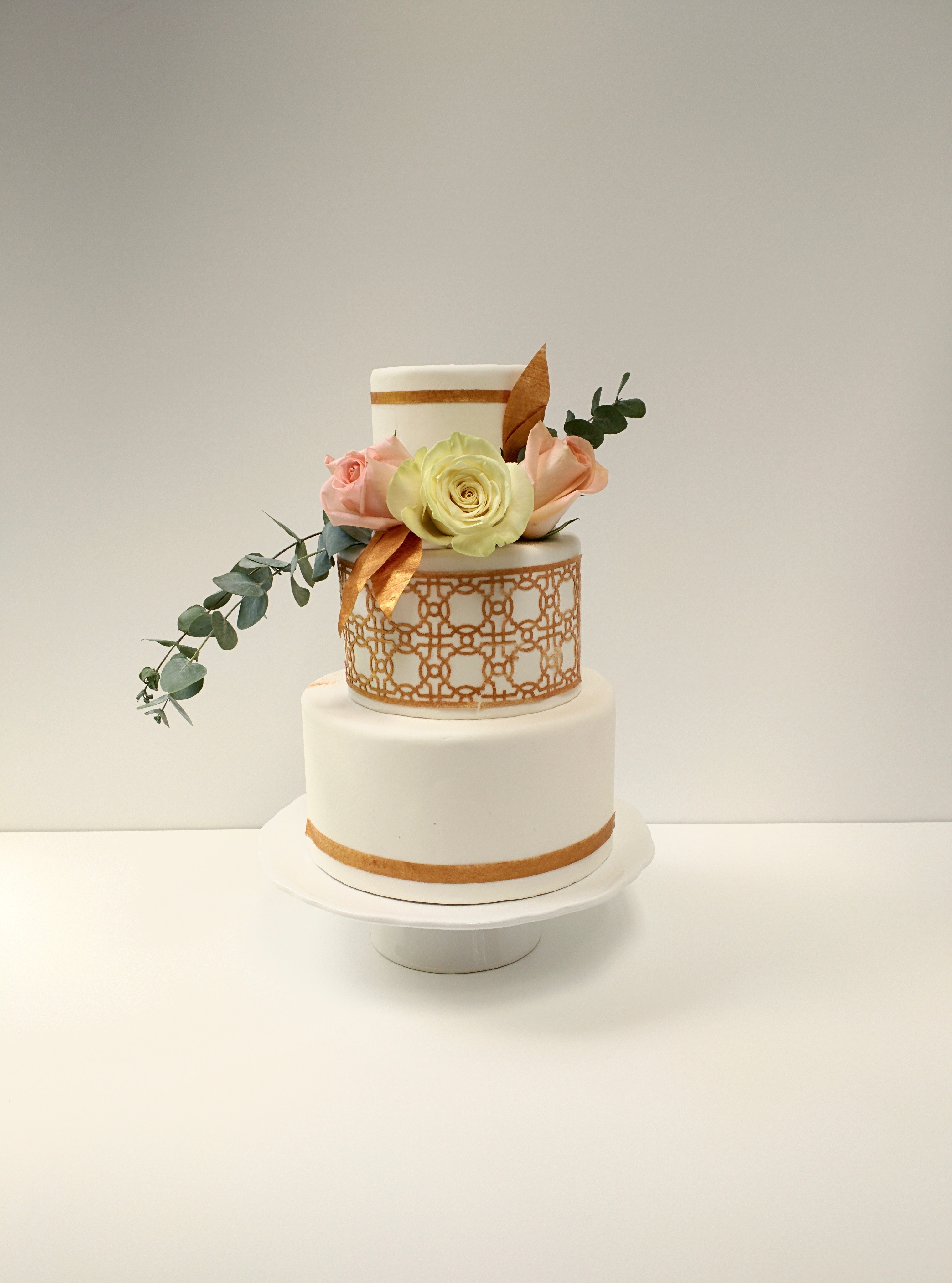 White with gold wedding