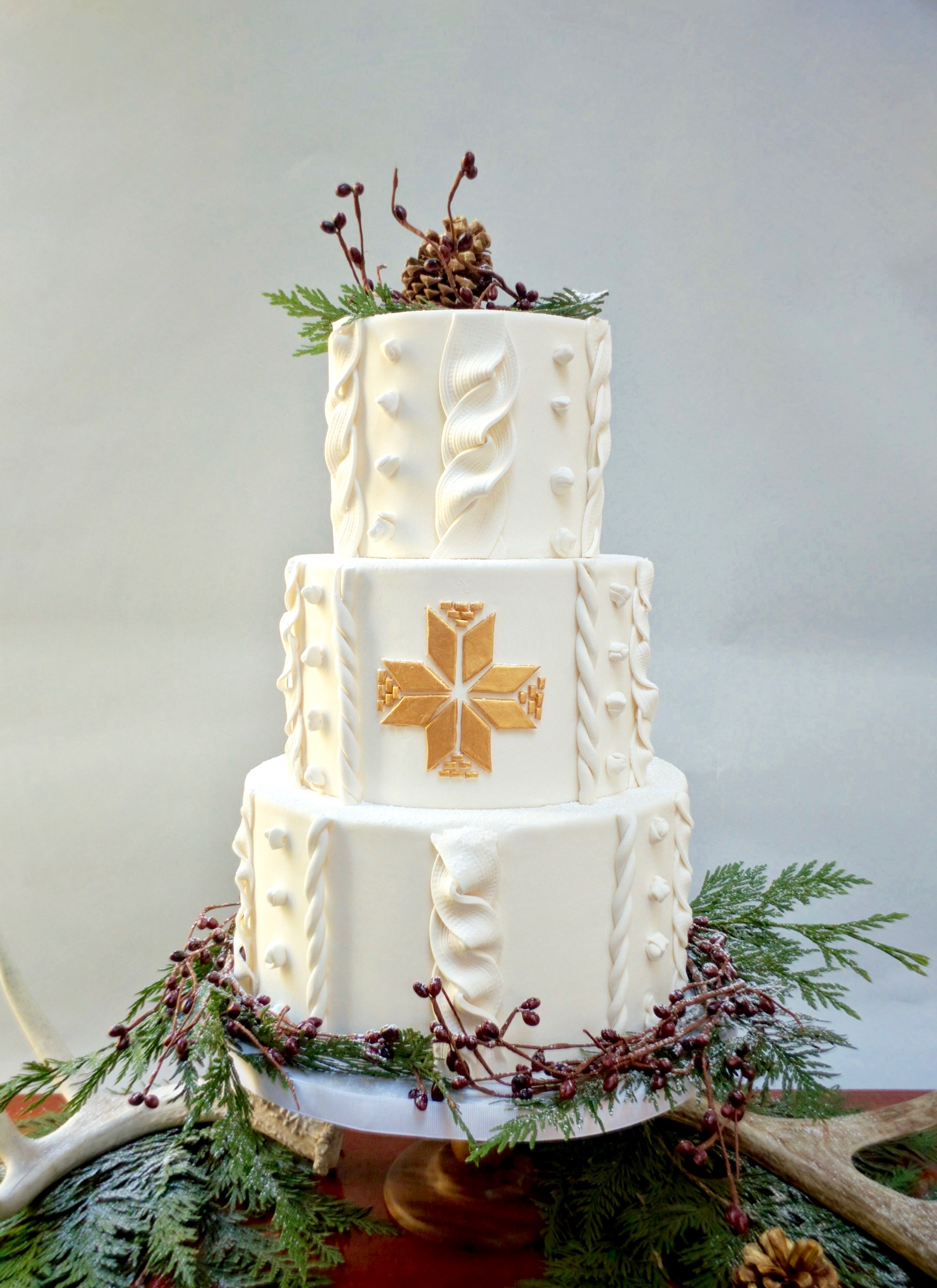 White rustic wedding cake