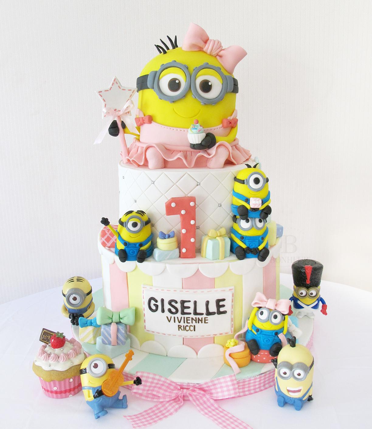 Girl Minion Cake and cupcakes