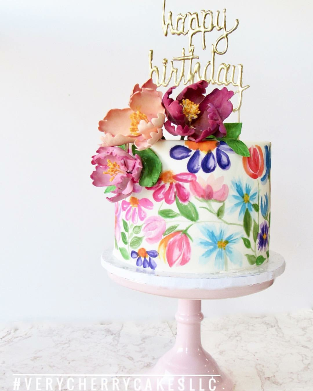 Hand painted colorful flower mini birthday cake