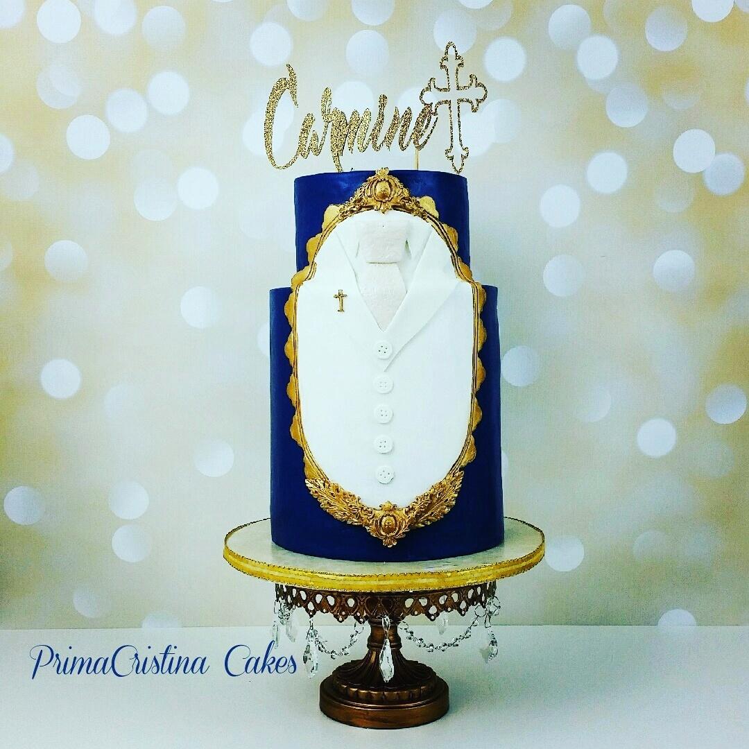 Navy and white baptism cake