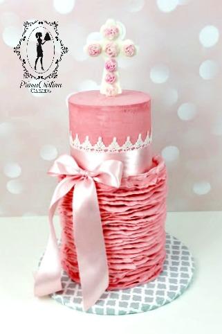 Pink ruffled baptism girl cake