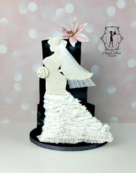Black and white wedding dress silhouette cake