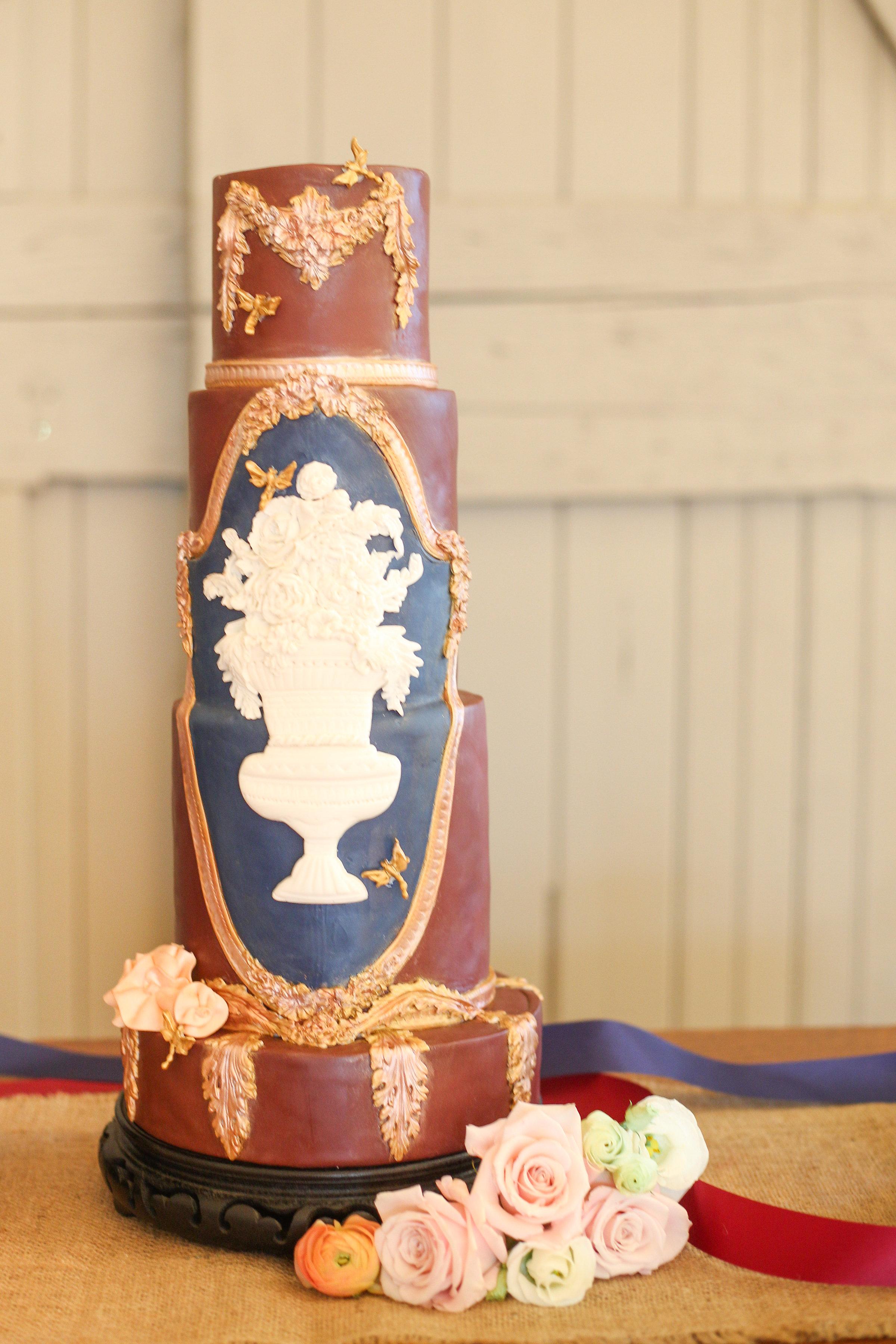 Burgundy with gold victorian wedding cake