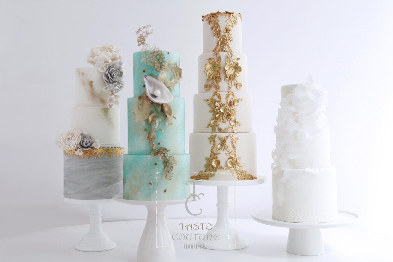 Collection of elegant wedding cake