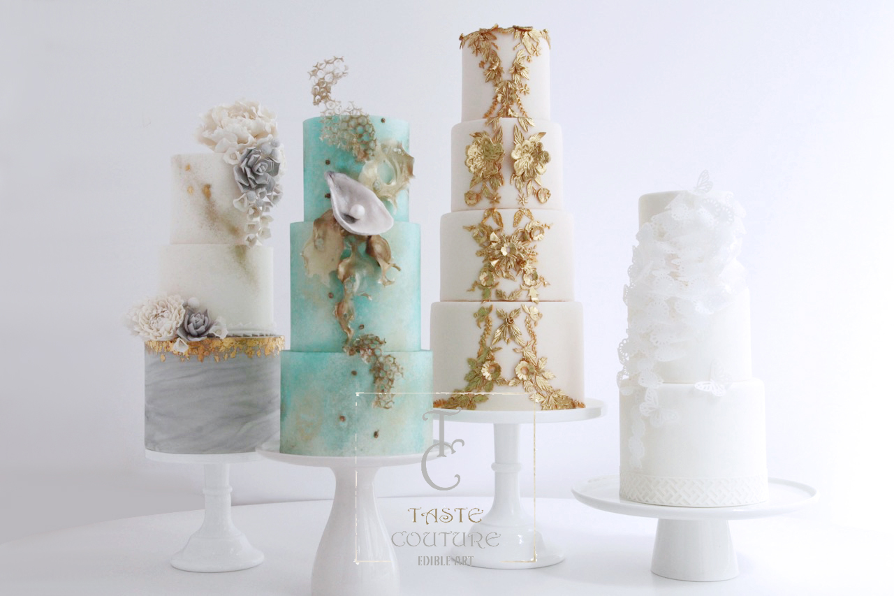 Collection of elegant wedding cake