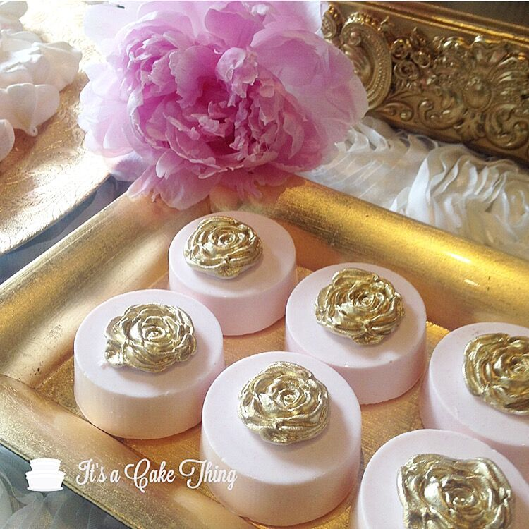 Pink petite fours with gold