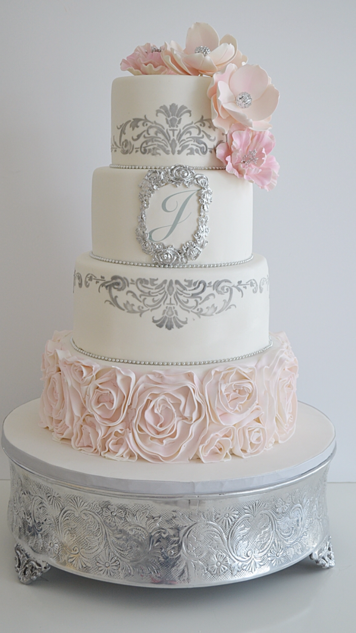Pink and White rosette wedding
