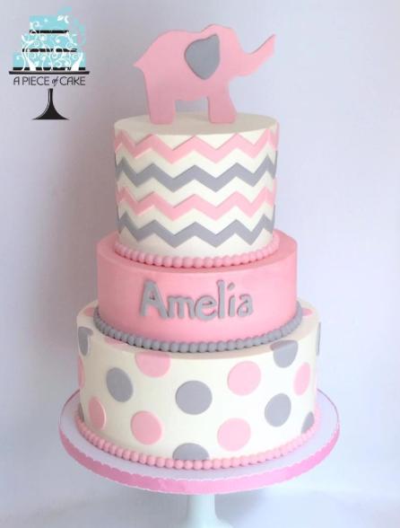 Gray and pink polka dot baby elephant cake