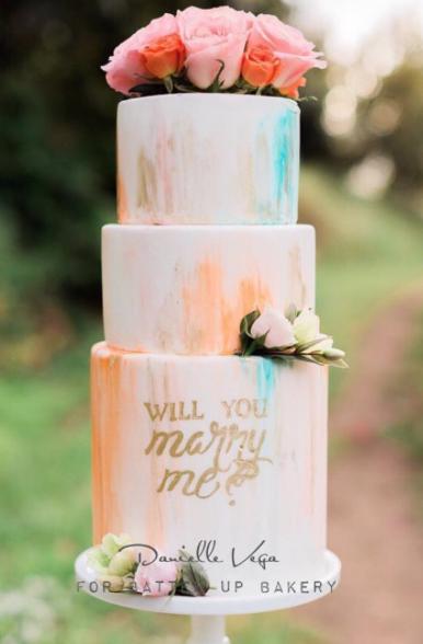 Watercolor streaked wedding