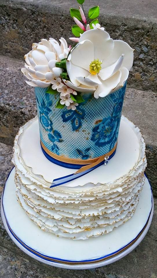 White and blue frill wedding