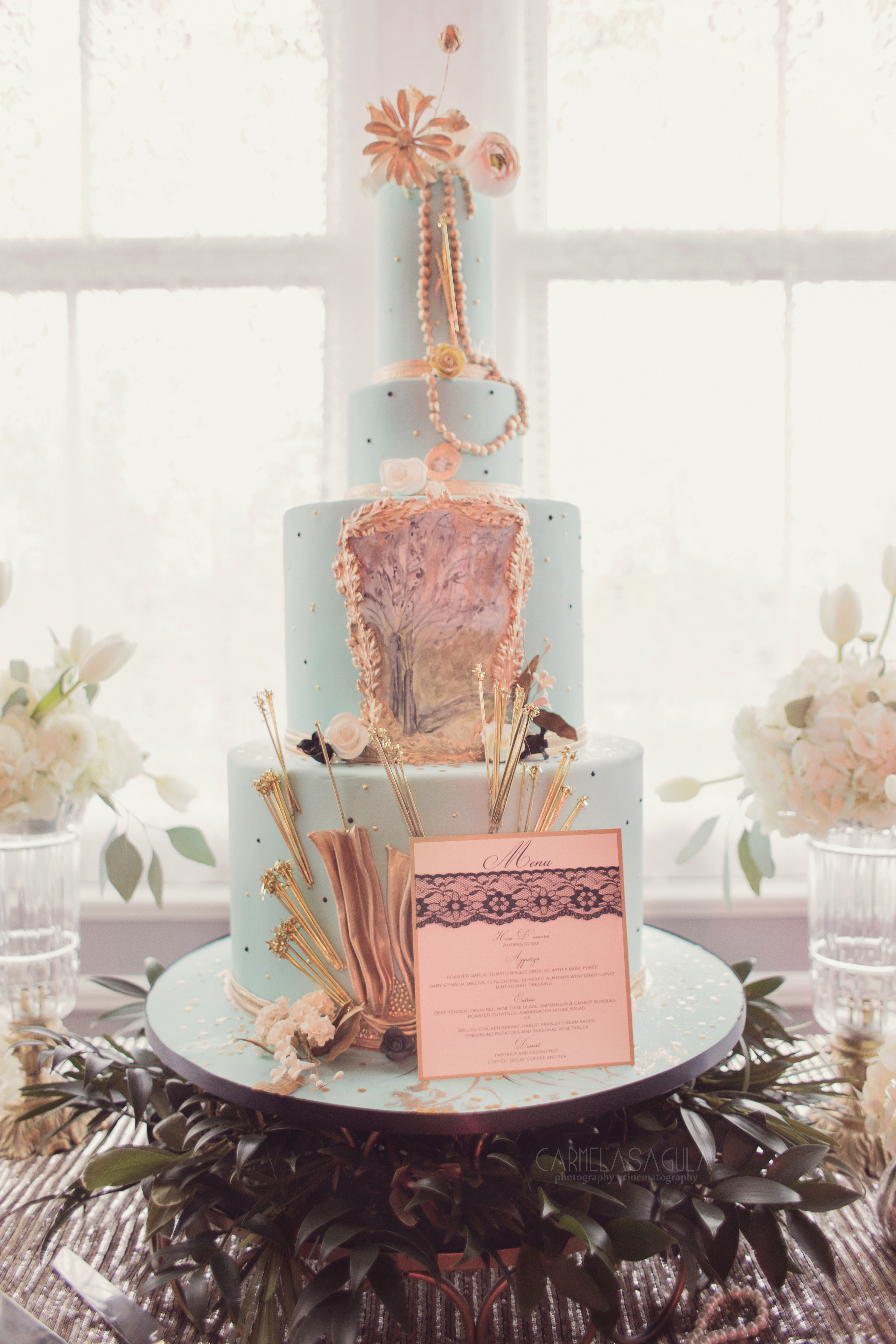 Blue and pink Parisian themed wedding