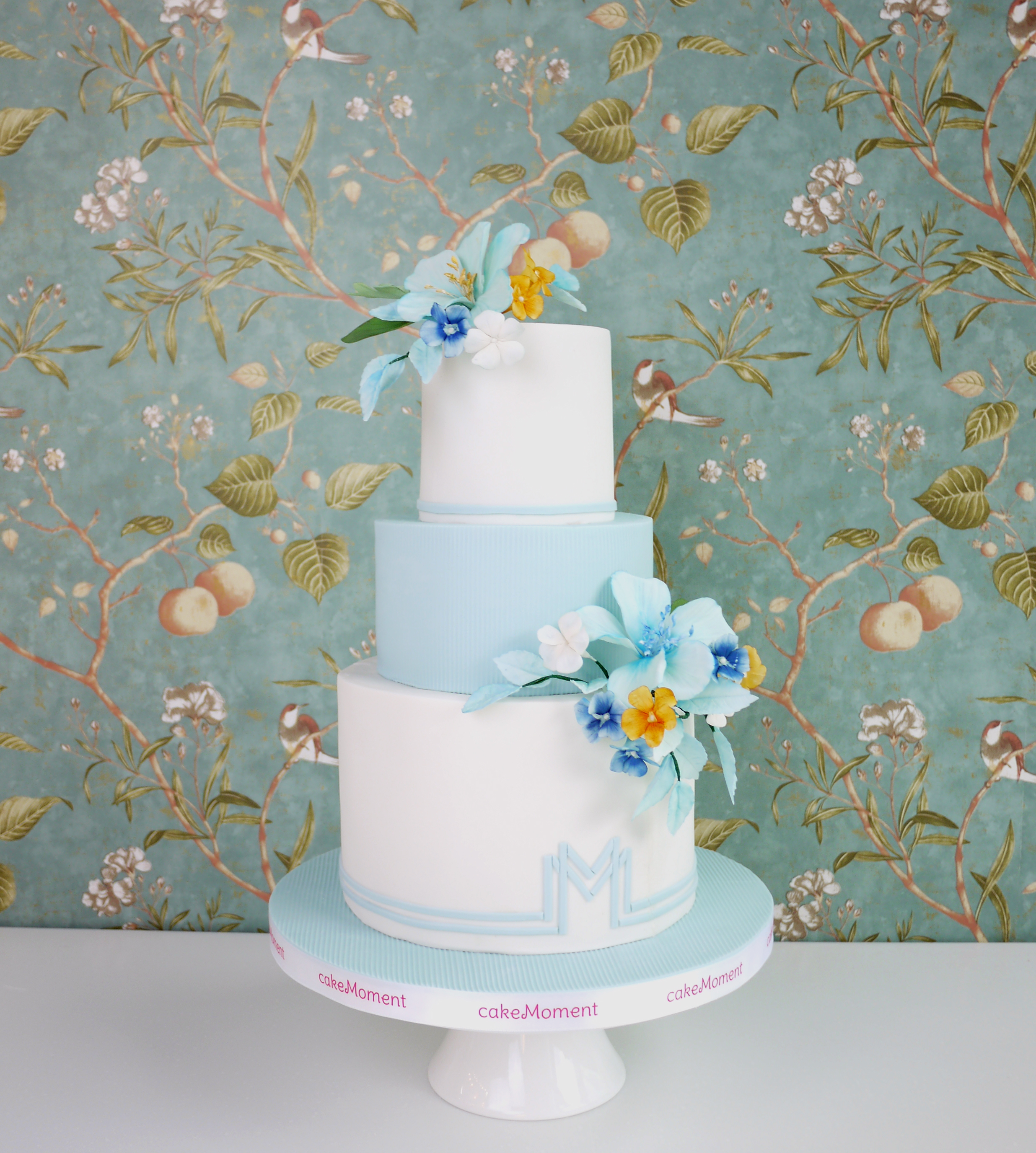 Baby blue and white wedding