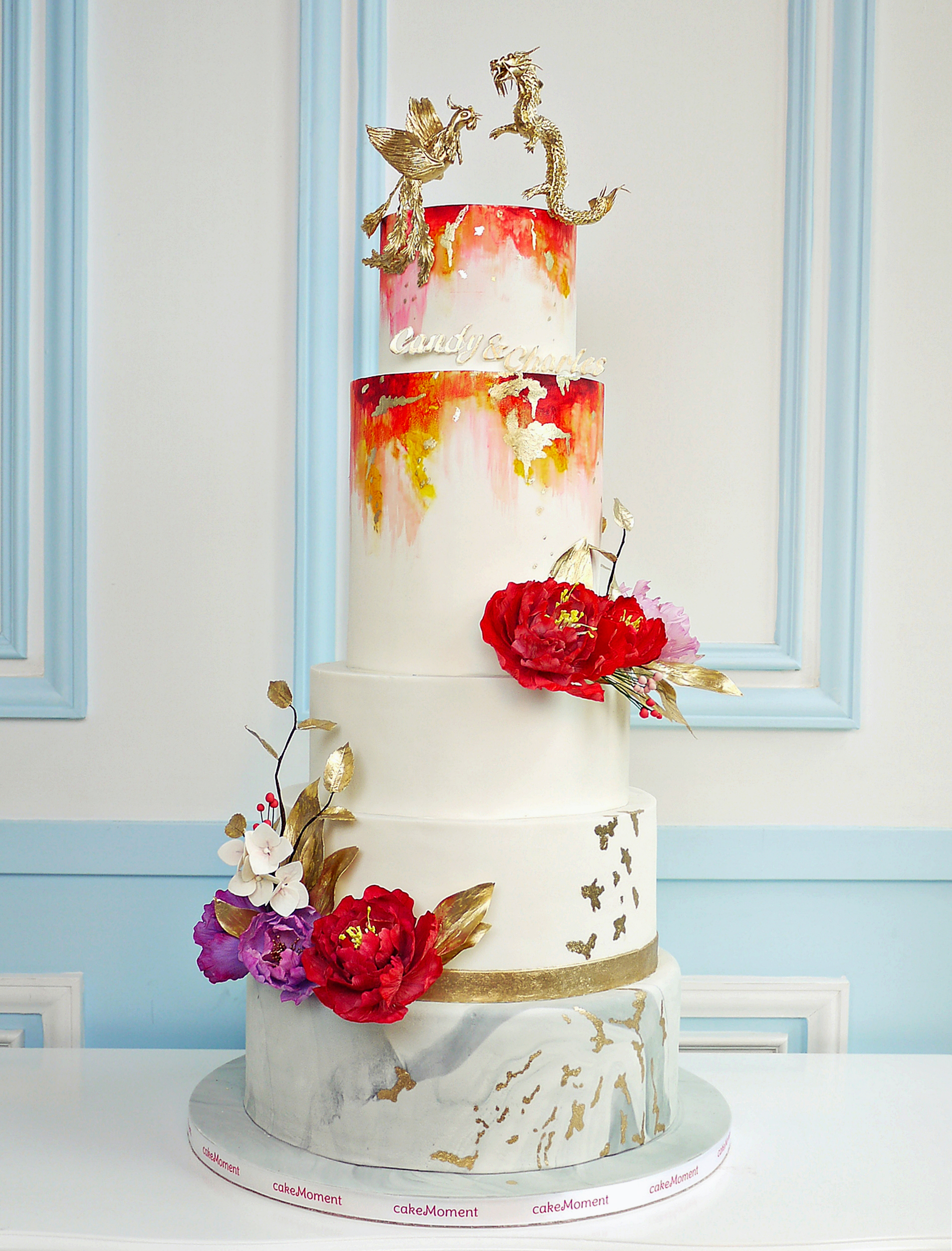 Red and gray marbled dragon themed wedding