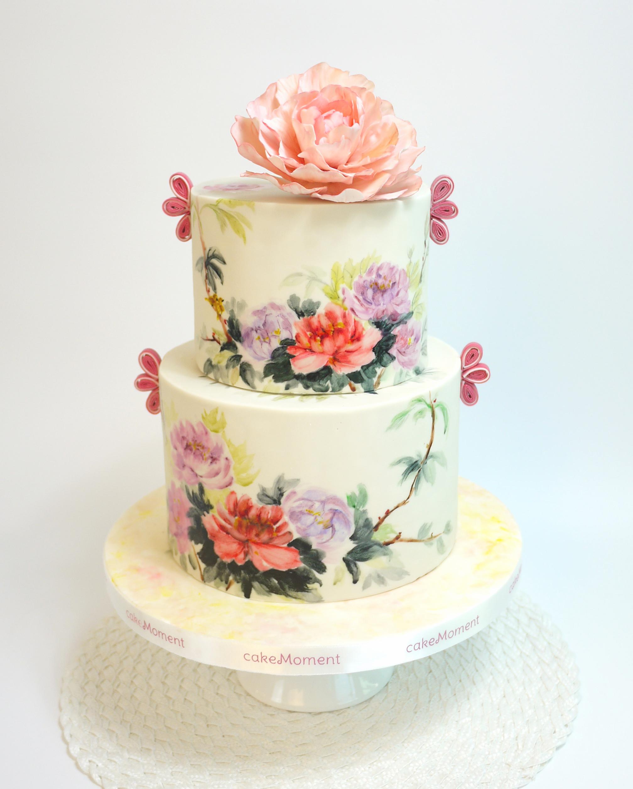 Hand painted flower wedding cake