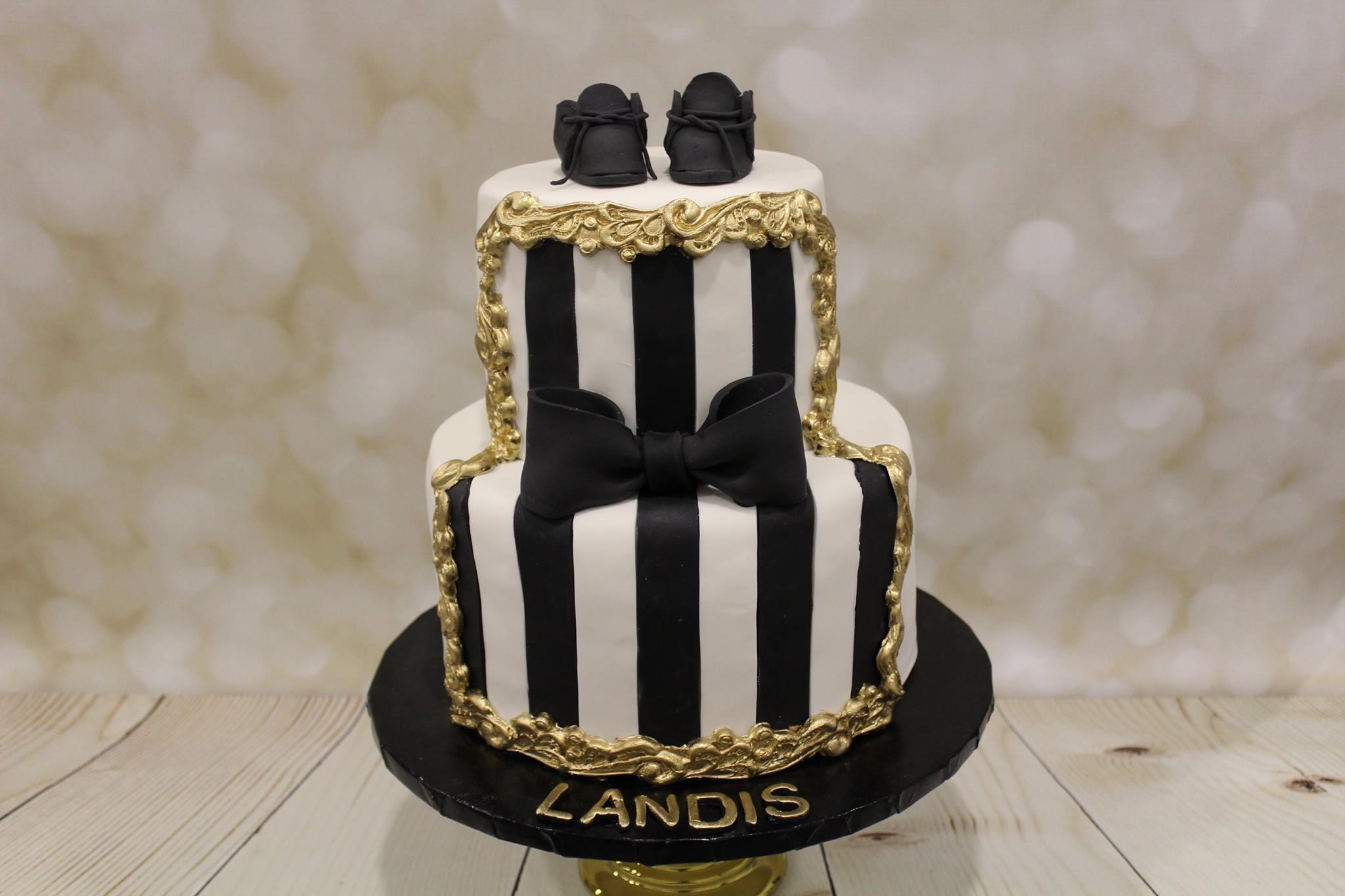 Black and white baby cake