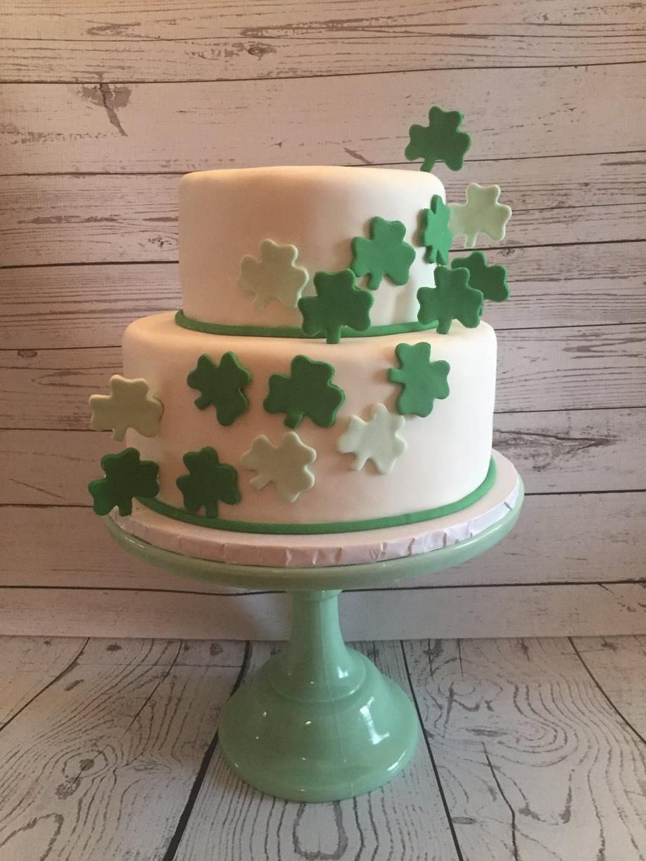 White cake with shamrocks
