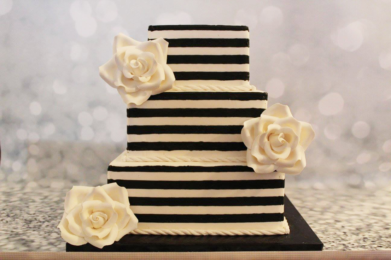 black and white square wedding cake