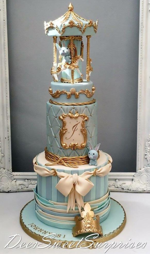 Carousel baby boy cake