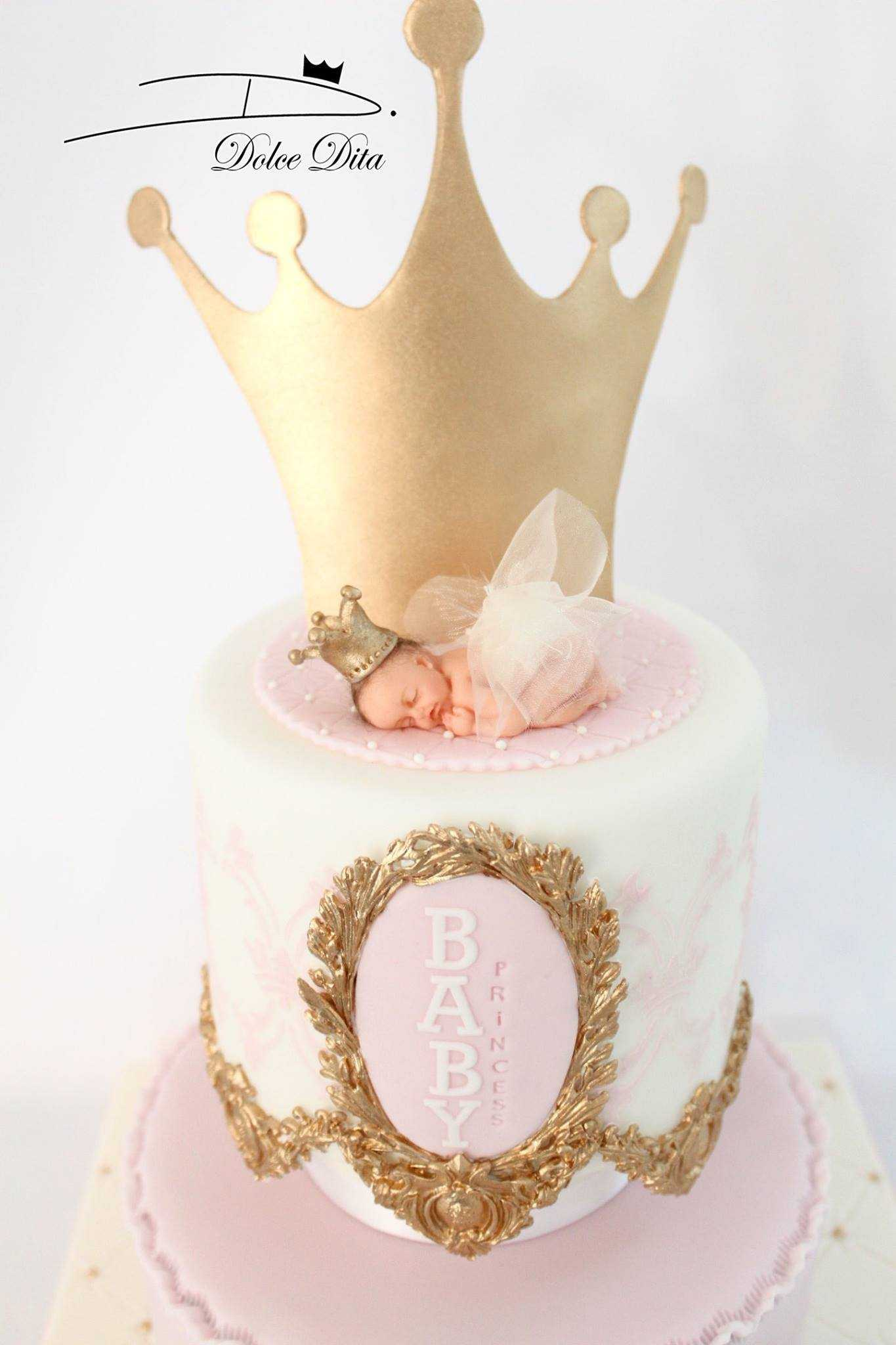 Pink and white crown baby cake