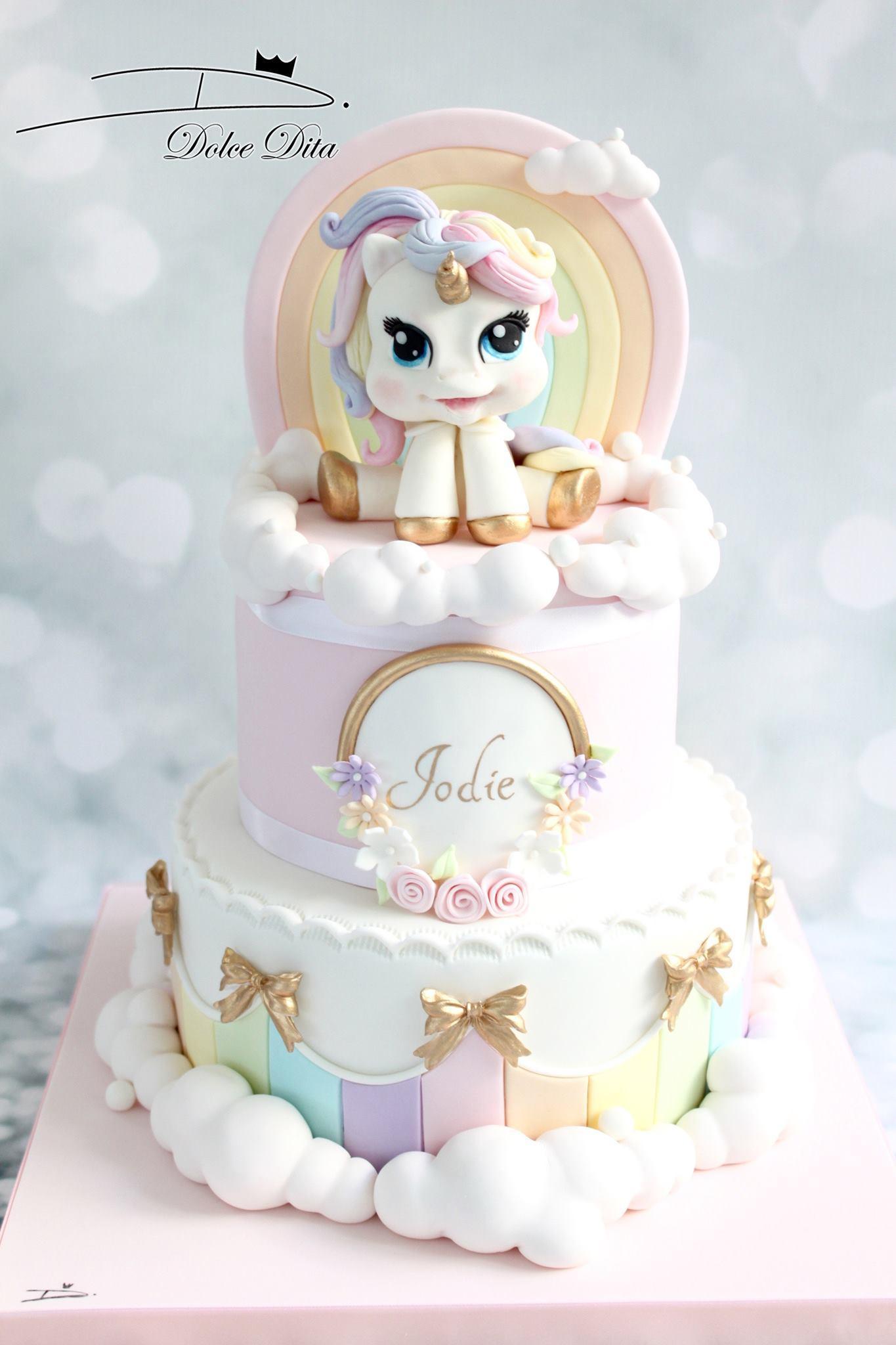 Pastel colored unicorn birthday cake
