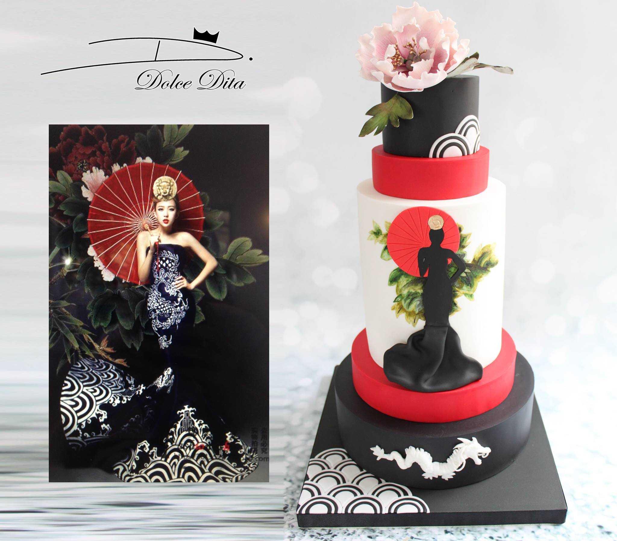 Geisha fashion inspired wedding cake