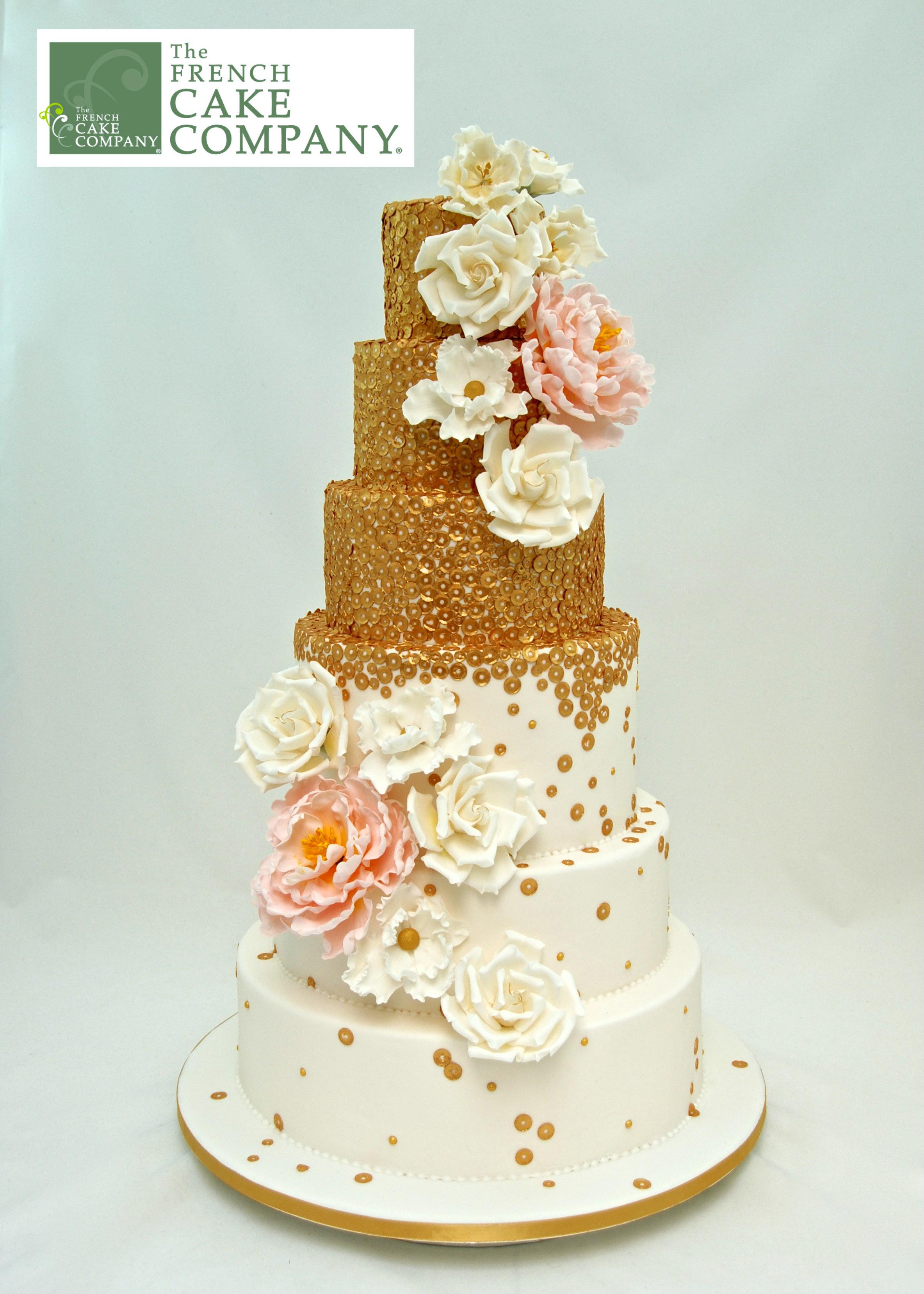 Rose gold sparkle wedding cake