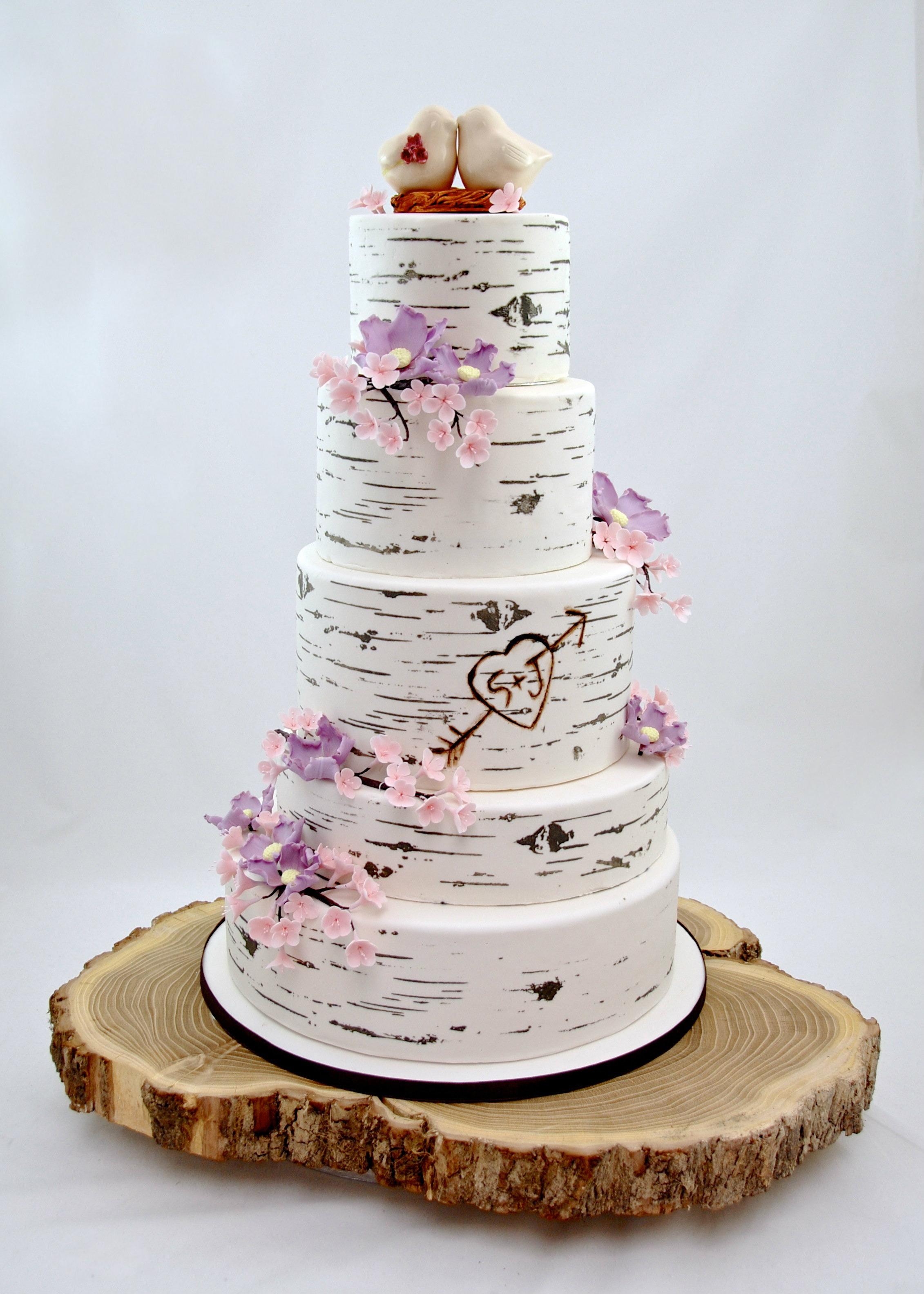 Silver birch wedding cake with sugar flowers